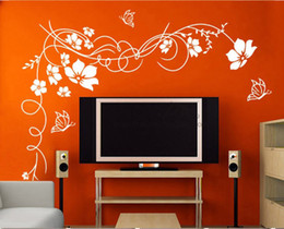 Wholesale 150x110cm x74cm Beautiful Flower Vinyl Wall Paper Decal Art Sticker