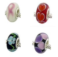 Wholesale 200pcs Mixed Colors HOT Murano glass Beads with silver core for Pandora style bead bracelet Compatible
