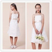 Wholesale 2014 New Princess Flower Girls Dresses A line Spaghetti Straps Sleeveless Sash Ribbon Knee length Stretch Satin Chiffon Wedding Party Dress