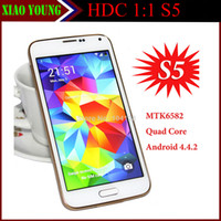 Wholesale Newest S5 i9600 with S heath Finger Print Unlock MTK6582 Quad Core cell phone USB Air Gesture inch Android SM G900 S
