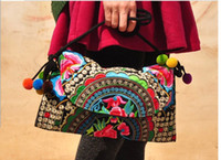 Wholesale 2014 Hot Sale Woman Ethnic Embroidery Clutch Hmong Embroidered Purse Ladies Day hand Wallets Mobile one shoulder embroidery handmade bag
