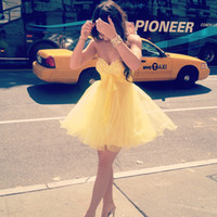 Wholesale 2014 Custom Made New York Fashion Cute Lovely Sweetheart Crystal Bodice Kylie Jenner Yellow Dress A line Girls Mini Homecoming Dress DRE126