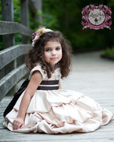 Wholesale Tiers Flower Girls Dresses A Line Jewel Neckline Knee Length Little Girl Pageant Dress With Ribbon Sash