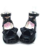 lolita shoes - Black Bow PU Lolita Shoes lolita