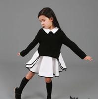 Wholesale Autumn Amazing Children Kids Clothing Cotton Girls Full Sleeve Dress Business wear Collar Black Gray Lady Style Girl cloth T K0254