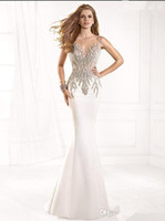 Cheap 2014 Sexy Tarik Ediz Sheer Mermaid Evening Pageant Prom Dress Backless Beaded See Through Satin Formal Gowns