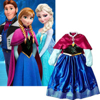 Cheap S 2015 Girl's Frozen Princess Anna Elsa Cosplay Costume Kid's Party Dress + Cloak 7-8Y