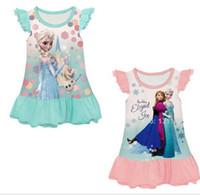 Cheap Lowest Price Summer Frozen Fly Sleeve Baby Homewear Dress Cartoon Elsa Anna Princess Girl Dresses Children Pajamas Dress Kids Clothes