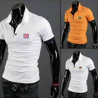 Cheap Free shipping hot sale 2014 new fashion men casual team embroidered slim short-sleeve polo shirt , size M-XXL, 6 colors, wholesale