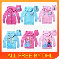 Wholesale 2014 New cute baby clothes Girls Hoodies Sweatshirts Frozen Baby Girls Elsa Anna Princess Terry Hooded Jumper Cartoon Hoodies Outerwear