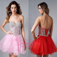 Cheap 2014 Homecoming Dresses Pink Bling Sweetheart Ball Gown Crystal Beaded Corset Graduation Dress Red Cocktail Gowns Short Prom Gown E450