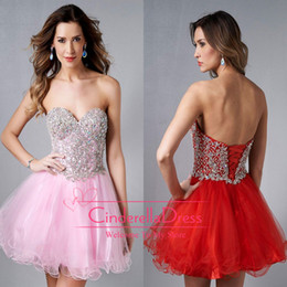 Wholesale 2014 Homecoming Dresses Pink Bling Sweetheart Ball Gown Crystal Beaded Corset Graduation Dress Red Cocktail Gowns Short Prom Gown E450