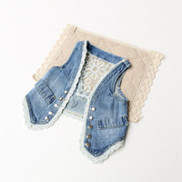 denim waistcoat - Lowest Price Hot Sale pretty kids Tank Tops baby girl bow Lace embroidered denim vest waistcoat outwear blue denim Waistcoat pc