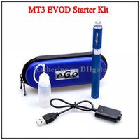 Cheap MT3 Starter Kits EVOD Atomizer 650mah 900mah 1100mah EVOD Battery for E Cigarette Electronic Cigarette Cig Kit in Case Various Color Instock
