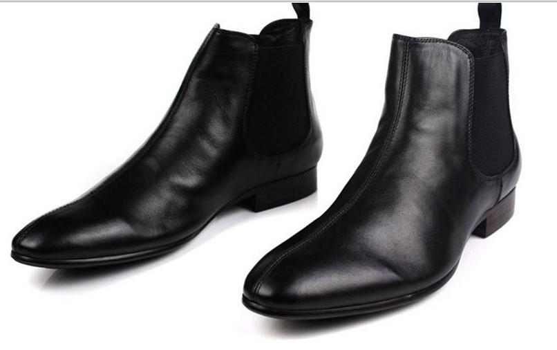 Black Genuine Leather Formal Brand Man Italian Ankle Boots Men&39s