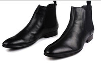 Cheap Black Genuine Leather Formal Brand Man Italian Ankle Boots Men's Dress Sneakers Rubber Shoes