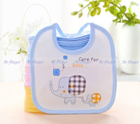 Wholesale 5pcs Cute Elephant Baby Bib Infant Saliva Towel Burp Cloths Waterproof Unisex drop shipping J0007