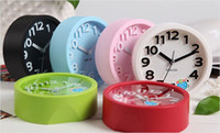 Digital Alarm Clocks Pointer Fashion Circle Candy color Alarm Clock Three dimension Stereo Digital Brief Mute Lazy Small Table Desk Clocks As Gift Free UPS Factory Price
