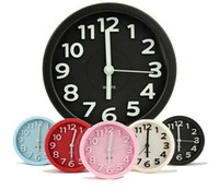 Wholesale Fashion Circle Candy color Alarm Clock Non Ticking Stereo Digital Brief Mute Lazy Small Table Desk Clocks As Gift Free UPS Factory Price