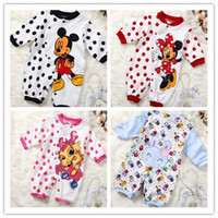 Wholesale Cartoon For Baby Boys Girls Dots Romper Miki Minnie Mouse Kids Clothing Long Sleeve Jumpsuit Childs Rabbit Cotton Baby Bodysuit H1086