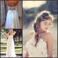 Cheap Beach Wedding Dresses Custom 2014 Boho Strapless Sleeveless Floor Length Appliques See Through Lace Back Tulle Vestidos Bridal Gowns