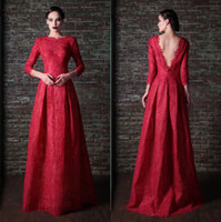 Wholesale 2015 Red Long Sleeves Evening Gowns Rami Kadi Formal Dresses Lace Backless Long Satin Prom Dresses Party Elegant Evening Dresses