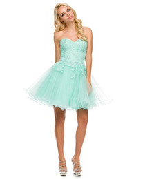 Wholesale Sexy Mint Lace Up Corset Strapless Tulle Short Homecoming Prom Dresses Ruched Cocktail Gowns
