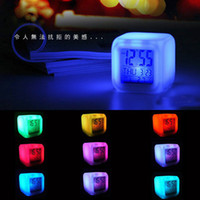 Wholesale LED Colors Changing Alarm Clock Plastic Digital Night Light with Calendar Date Thermometer Home Table Desk Clocks Free DHL Factory Price