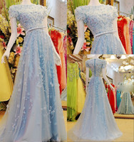 Model Pictures Lace Sexy Elie Saab Light Blue Crystal Short Sleeves Formal Evening Dresses Lace Appliqued Sheer Flowers Pageant Prom Party Gowns 2014 Real Sample