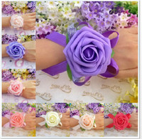 Wholesale New Wedding Banquet Party Supplies Bridal bridesmaid flower wrist corsage wrist hand flowers foam headdress flower