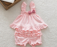 Cheap baby outfits baby pink polka dots ruffles strap tee t-shirt tank top tiered ruffle baby bloomers shorts 2pcs cute set girl strap bow vest