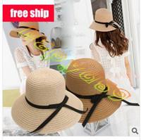 Wholesale fashion lady bow summer hats UV sun cap woman beach visor hat large brimmed straw hat foldable Wide Brim Hats
