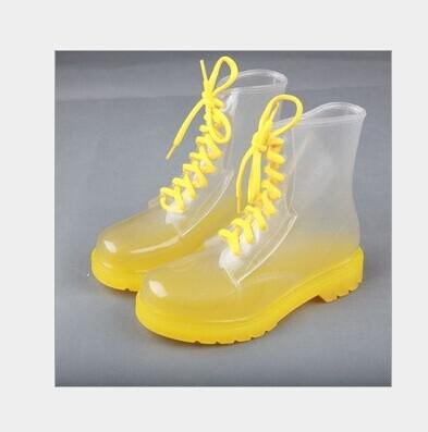 2017 Cute Pvc Transparent Girls Rain Boots Candy Jelly Colorful