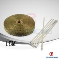 "Cheap 1""x 50' Premium Exhaust Heat Wrap Manifold Wrap Titanium Lava Fiber Thermal Heat Wrap+ 6 pcs Ties"