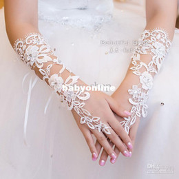 Wholesale 2014 Babyonline Bridal Gloves About cm Luxury Lace Diamond Flower Glove Hollow Wedding Dress Accessories Evening Dresses