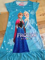 Wholesale 2014 summer detonation model girl dress elsa frozen dress princess Anna cartoon print female leisure dress for infants and children QY0004