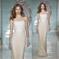 fashion lace ribbon - Reem Acra Design New Bodycon Wedding Dresses Sheath Column Lace Ribbon Sequins Strapless Sweetheart Sweep Train Bridal Gowns Fashion