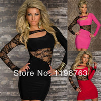 Cheap Spring 2014 Cheap Pink Red Black Lace Dress Sexy Bodycon Wrap Dress Women Work Wear Ladies Formal Summer Clothes Sundresses 5121