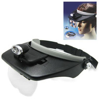 Wholesale Black Light Head Magnifying Glass Magnifier Loupe Eye Glasses with x D Lens and Two LED Lamps Light EGS_165