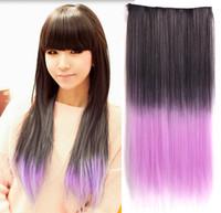 Ombre Color clip in one piece extensions - 24 multi color five clips in one piece hair extension