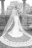 Wholesale Lace Pearl Meter - 2015 New Best Selling Long Veil One Layer Tulle Wedding Veils Appliques Lace Bridal Veils Three Meters White Ivory Veils for Wed
