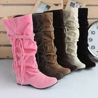 Wholesale 2015 Women s Tassel Boots New Sexy Knee High Flat Boots thicken plush casual snow boots Large size winter shoes