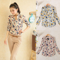 Wholesale Fashion Women Girl OL Carrer Tops Button Down Stand Collar Geometric Blouse shirts DH