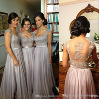 Wholesale 2014 Sexy Silver Prom Dresses Bridesmaid Dress Lace Appliques Sequins Beads Cap Sleeves V Neck Chiffon Brides maid Dress BO2673