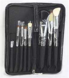 Wholesale 8 professional makeup brush set Cosmetic Beauty Makeup Brush Black Sets with Leather Case DHL