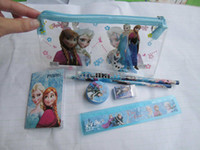 Wholesale Kids learning items Frozen stationery set for Students children stationery Frozen Pencil Cases Frozen Bags Frozen Ruler Frozen Pencils