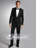 Wholesale One Button man suits mens tuxedo wedding suits for men Groom Groomsmen Tuxedos mens wedding suits Jacket Pant Bow Tie