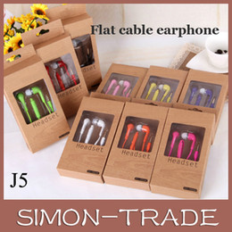 Wholesale 3 mm Samsung In Ear Stereo colorful Flat Earphone Headset J5 with Mic and Remote Volume Control for Galaxy S3 S4 S5 note retial box
