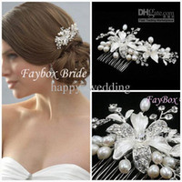 Wholesale In Stock High quality Beautiful Crystal pearl Stunning wedding bridal crystal flora Tiaras hair accessory headpiece