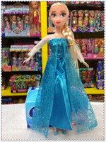 Wholesale 2014 Hot Sale Movie Frozen Elsa Anna Sparkle Princess Dolls Figure Toys inch with Nice retail box package Baby Children toys Empress Elsa